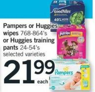 Pampers Or Huggies Wipes 768-864's Or Huggies Training Pants 24-54's