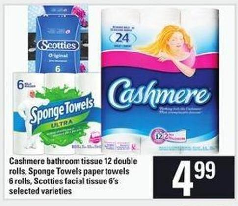 Cashmere Bathroom Tissue 12 Double Rolls - Sponge Towels Paper Towels 6 Rolls - Scotties Facial Tissue 6's