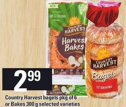 Country Harvest Bagels - Pkg Of 6 Or Bakes - 300 G