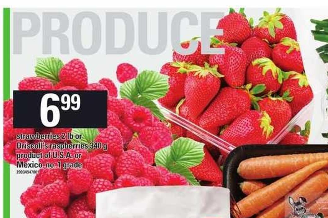 Strawberries - 2 Lb Or Driscoll's Raspberries - 340 G