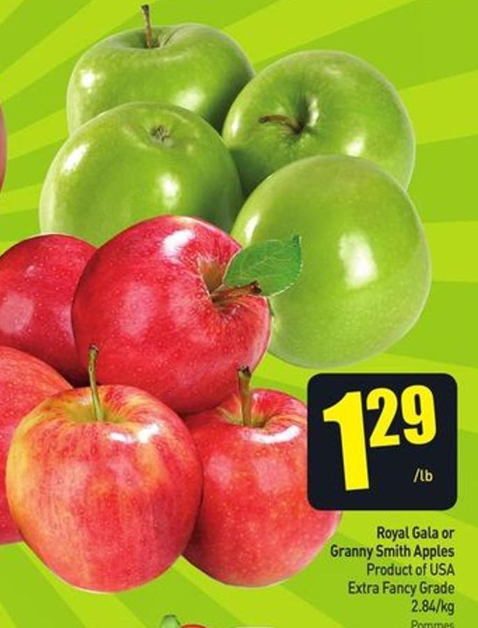 Royal Gala or Granny Smith Apples Product of USA Extra Fancy Grade 2.84/kg