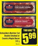 Schneiders Butcher Cut Double Smoked or Country Maple Bacon 500 g