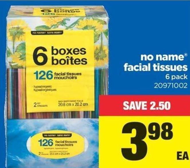 No Name Facial Tissues - 6 Pack