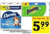 Charmin Bathroom Tissue Double 12's Or Bounty Paper Towels 4 = 6's