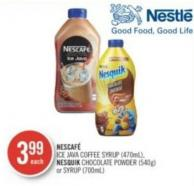 Nescaf' Ice Java Coffee Syrup (470ml) - Nesquik Chocolate Powder (540g) or Syrup (700ml)