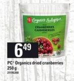 PC Organics Dried Cranberries - 250 G