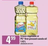 Crisco Vegetable Or PC First-pressed Canola Oil - 1.42 L