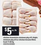 Chicken Drumsticks Minimum Pkg Of 9 - Thighs Minimum Pkg Of 6 Or Chicken Breasts Fillets Fresh