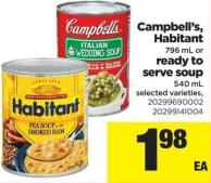 Campbell's - Habitant 796 Ml Or Ready To Serve Soup 540 Ml