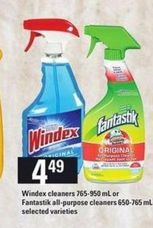 Windex Cleaners - 765-950 Ml Or Fantastik All-purpose Cleaners - 650-765 Ml
