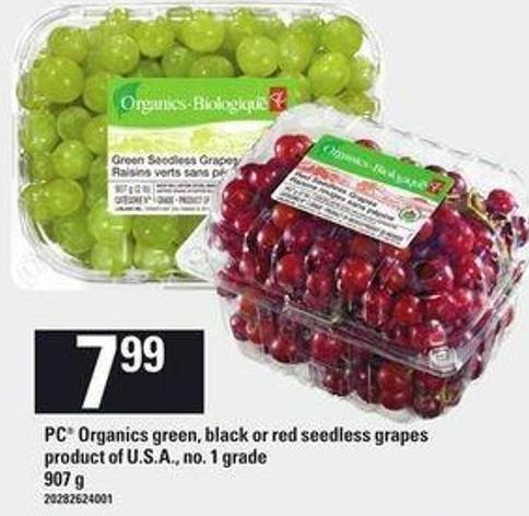 PC Organics Green - Black Or Red Seedless Grapes - 907 g