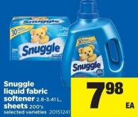 Snuggle Liquid Fabric Softener 2.8-3.41 L - Sheets 200's