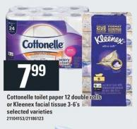 Cottonelle Toilet Paper 12 Double Rolls Or Kleenex Facial Tissue 3-6's