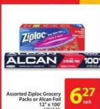 Assorted Ziploc Grocery Packs or Alcan Foil 12in X 100'
