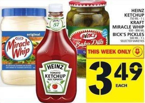 Heinz Ketchup Or Kraft Miracle Whip Or Bick's Pickles