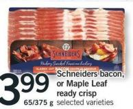 Schneiders Bacon Or Maple Leaf Ready Crisp - 65/375 G