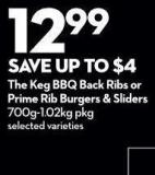 The Keg Bbq Back Ribs or Prime Rib Burgers & Sliders 700g-1.02kg Pkg