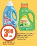 Fleecy Fabric Softener - Cheer or Gain Laundry Detergent 1.47l