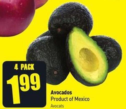 Avocados Product of Mexico Avocats 4 Pack