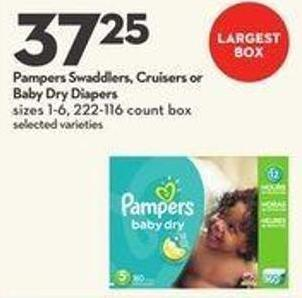 Pampers Swaddlers - Cruisers or Baby Dry Diapers