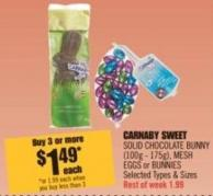 Carnaby Sweet Solid Chocolate Bunny (100g - 175g) - Mesh Eggs or Bunnies