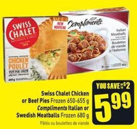Swiss Chalet Chicken or Beef Pies Frozen 650-655 g
