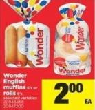 Wonder English Muffins - 6's Or Rolls - 8's
