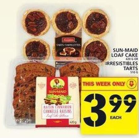 Sun-maid Loaf Cake Or Irresistibles Tarts