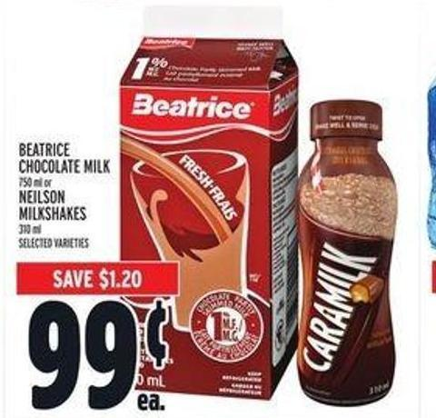 Beatrice Chocolate Milk 750 ml or Neilson Milkshakes 310 ml