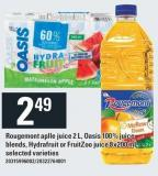 Rougemont Aplle Juice 2 L - Oasis 100% Juice Blends - Hydrafruit Or Fruitzoo Juice 8x200 Ml