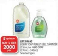 Life Brand Liquid Soap Refills (2l) - Sanitizer (236ml) or Hand Soap (236ml - 340ml)