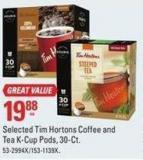 Keurig Selected Tim Hortons Coffee and Tea K-cup Pods - 30-ct