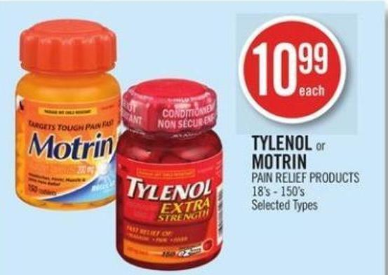 Tylenol or Motrin Pain Relief Products