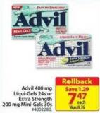 Advil 400 Mg Liqui-gels 24s or Extra Strength 200 Mg Mini-gels 30s