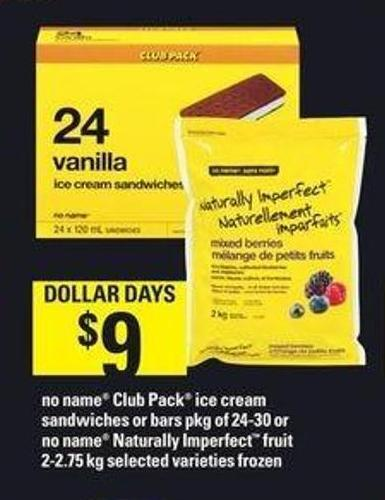 No Name Club Pack Ice Cream Sandwiches Or Bars Pkg Of 24-30 Or No Name Naturally Imperfect Fruit 2-2.75 Kg