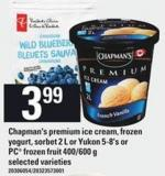 Chapman's Premium Ice Cream - Frozen Yogurt - Sorbet - 2 L Or Yukon - 5-8's Or PC Frozen Fruit - 400/600 G