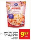Great Value Shrimp 71 – 90 Per Lb.cooked or 61 – 70 Per Lb.raw