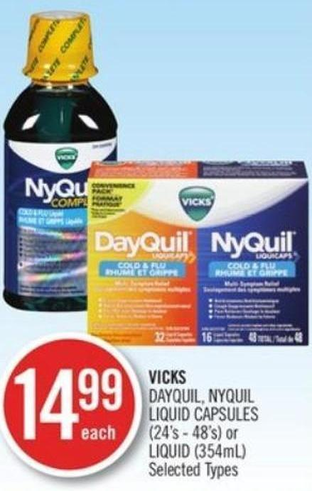Vicks Dayquil - Nyquil Liquid Capsules (24's - 48's) or Liquid (354ml)