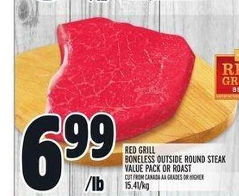 Red Grill Boneless Outside Round Steak Value Pack Or Roast