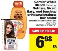 Garnier Whole Blends 650 Ml Or Nutrisse - Nice'n Easy - Root Touch Up Or Natural Instincts Hair Colour