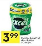 Excel or Juicy Fruit Gum Bottles 40-60 Pk