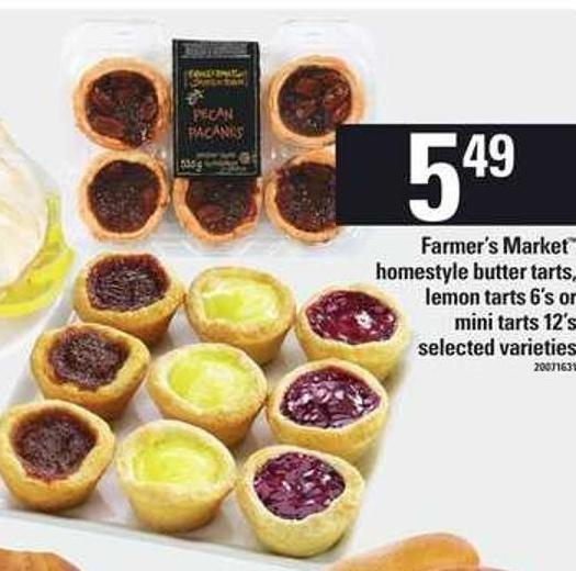 Farmer's Market Homestyle Butter Tarts - Lemon Tarts - 6's Or Mini Tarts - 12's