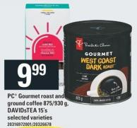 PC Gourmet Roast And Ground Coffee 875/930 g - Davidstea 15's
