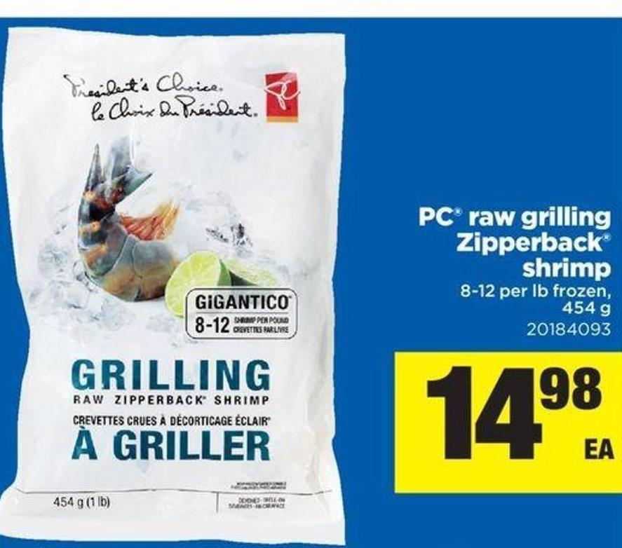 PC Raw Grilling Zipperback Shrimp - 454 G