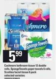 Cashmere Bathroom Tissue - 12 Double Rolls - Spongetowels Paper Towels - 6 Rolls - Scotties Facial Tissue - 6 Pack