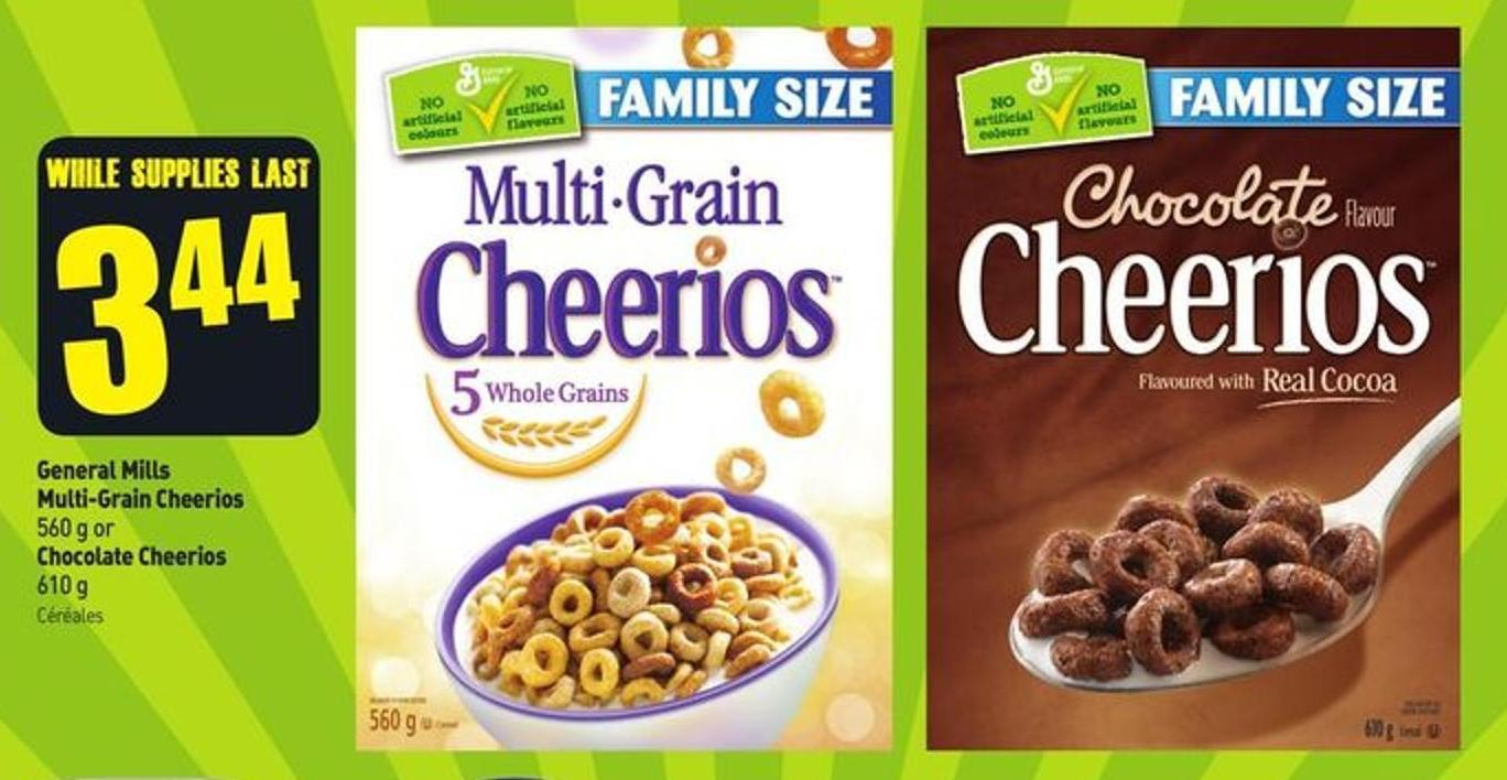 General Mills Multi-grain Cheerios 560 g or Chocolate Cheerios 610 g