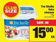 Tre Stelle Feta Cheese - 1 Kg - Club Size