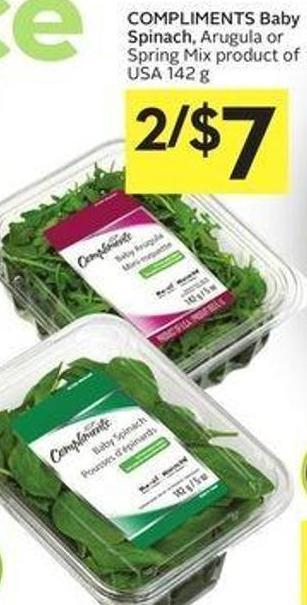 Compliments Baby Spinach - Arugula or Spring Mix Product of USA 142 g
