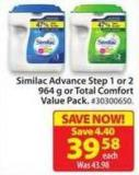 Similac Advance Step 1 or 2 964 g or Total Comfort Value Pack