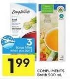Compliments Broth 900 mL - 3 Air Miles Bonus Miles